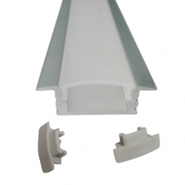 Lot de 2 Profils 1 m alu anodisé pour ruban LED 25x7 mm transparent