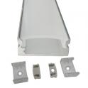 Lot de 2 Profils 1 m alu anodisé pour ruban LED 17x7 mm opaque