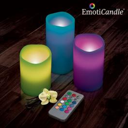 Set de 3 bougies LED Multicolores EmotiCandle