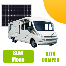 Kit panneau solaire 80W 12V Camping Car