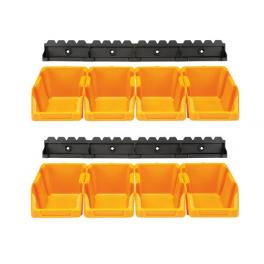 Jeu de 8 bacs à bec jaunes 103 x 165 x 75 mm avec support