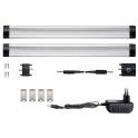 Kit 2 Réglettes LED aluminium 0m50 69 LED SMD blanc neutre