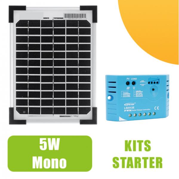 kit panneau solaire monocristalin 5w 12v et r gulateur 5a 41 90 starter kits solaires. Black Bedroom Furniture Sets. Home Design Ideas