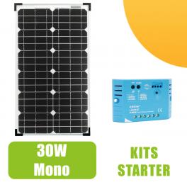 Kit panneau solaire 30W Monocristallin 12V et régulateur 5A