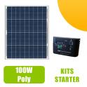 Kit panneau solaire Polycristallin 100W 12V et régulateur 10A