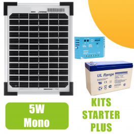 kit panneau solaire mono 5w 12v avec r gulateur 5a et batterie 62 90 starter kits. Black Bedroom Furniture Sets. Home Design Ideas