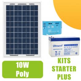 Kit panneau solaire 10W 12V avec régulateur 5A et batterie