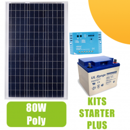 Kit panneau solaire 80W Poly 12V av régulateur 10A et batterie