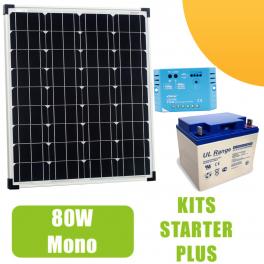 Kit panneau solaire 80W Mono 12V avec régulateur 10A et batterie