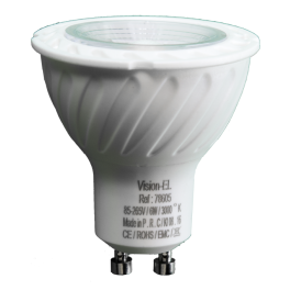 Spot LED 6W 230V à culot GU10 blanc neutre angle 80°