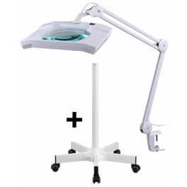 Lampe-loupe LED lentille 189 x 157 mm 5D avec embase étau et pied roulettes